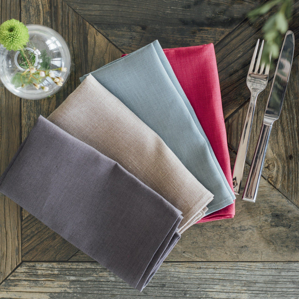 pure linen napkins red duck egg grey natural