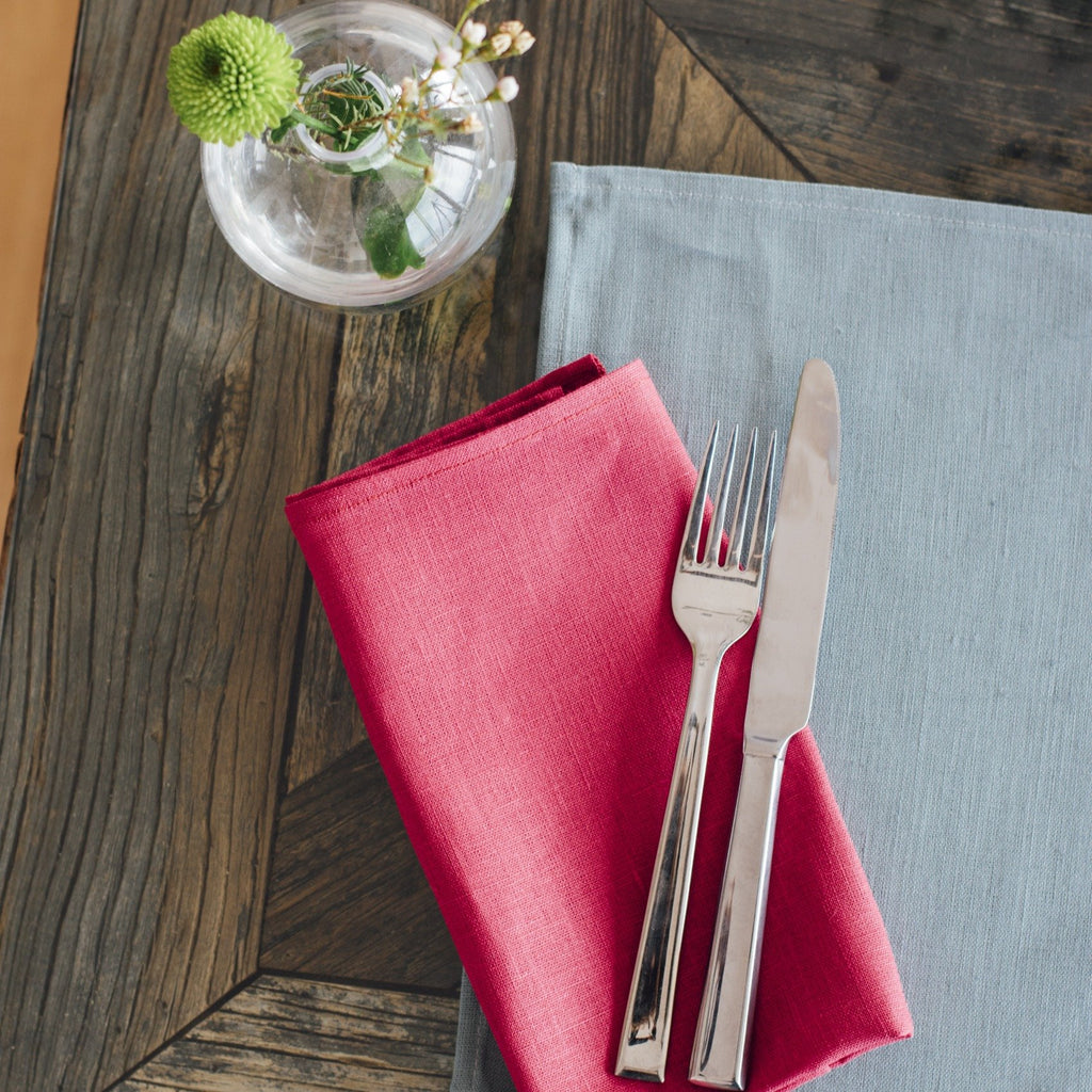 pure linen napkins raspberry red