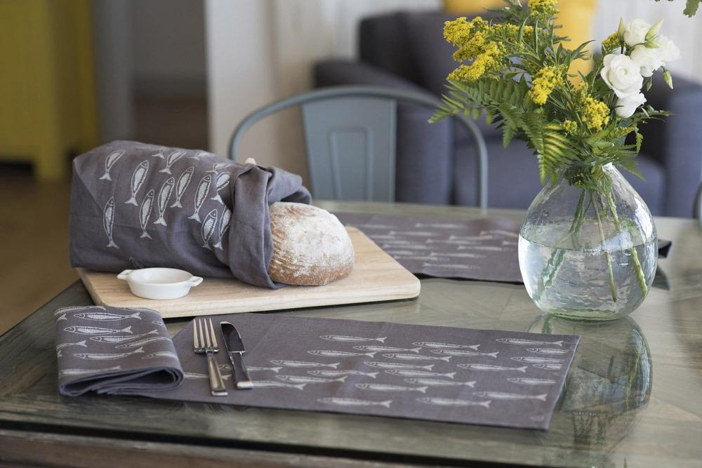 fish placemat, grey linen eco bread bag slate grey fish napkin