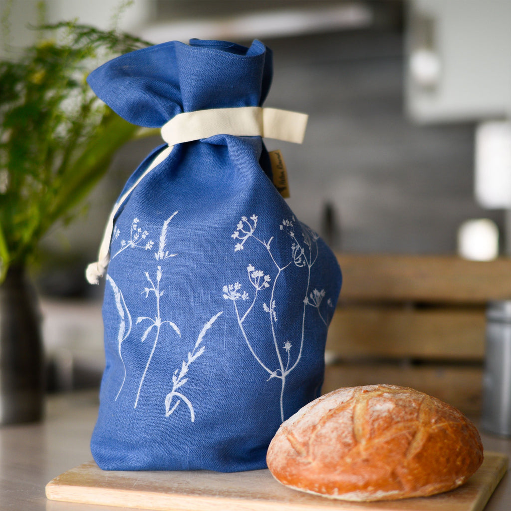 linen bread bag indigo blue hedgerow design