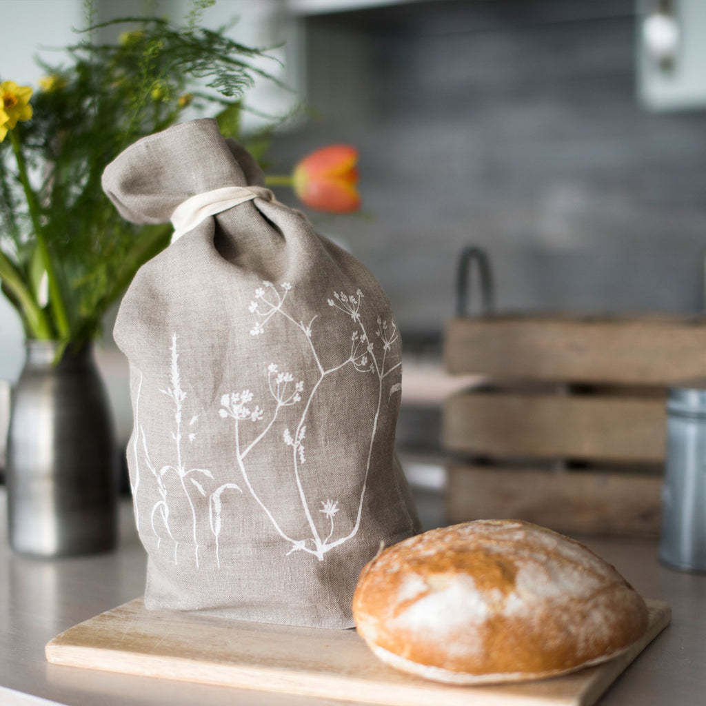 linen bread bag natural hedgerow design