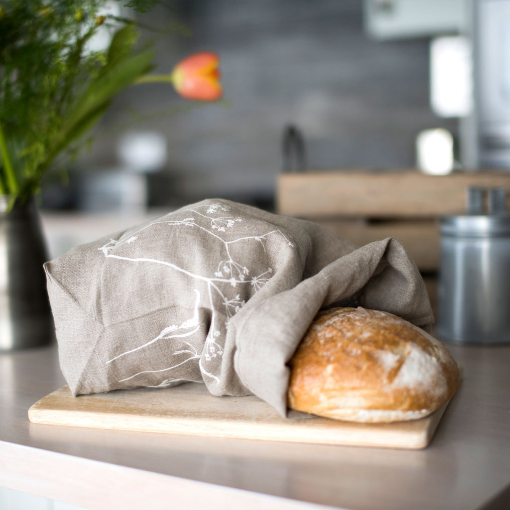 natural linen bread bag hedgerow design