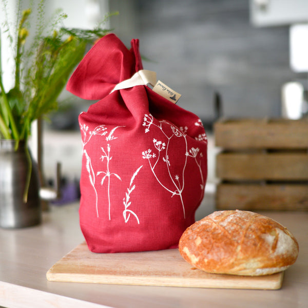 raspberry linen bread bag hedgerow design
