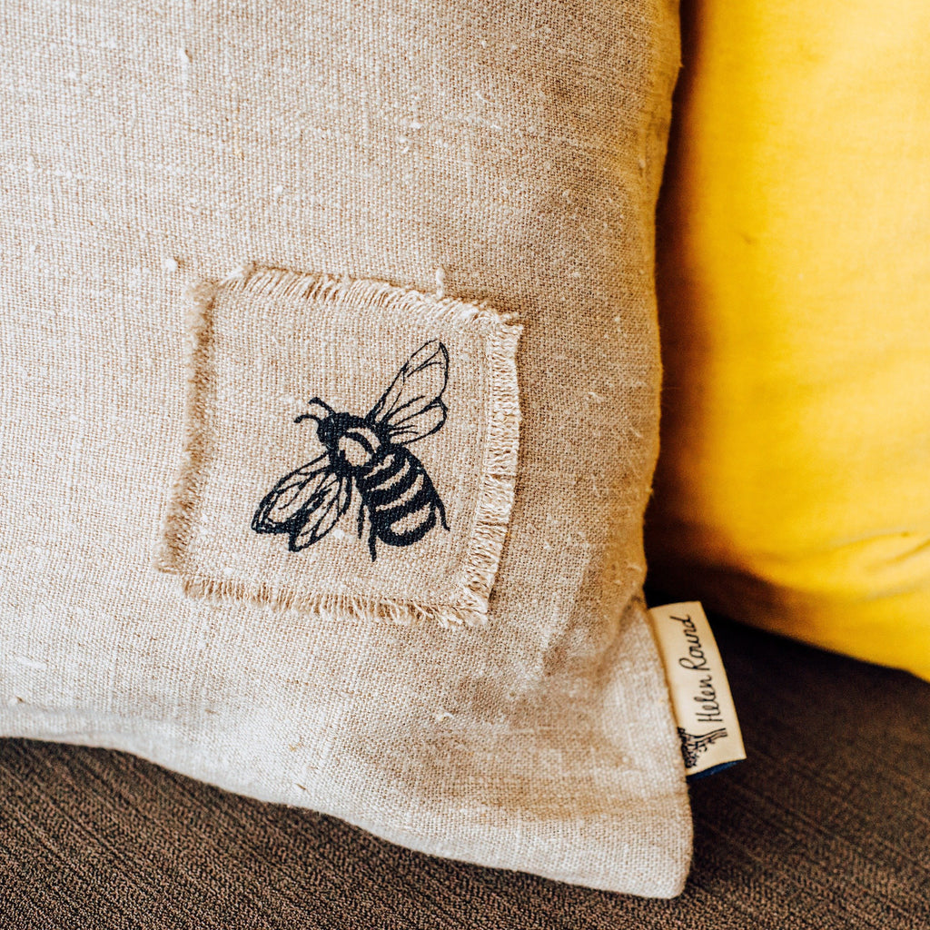 natural linen bee cushion