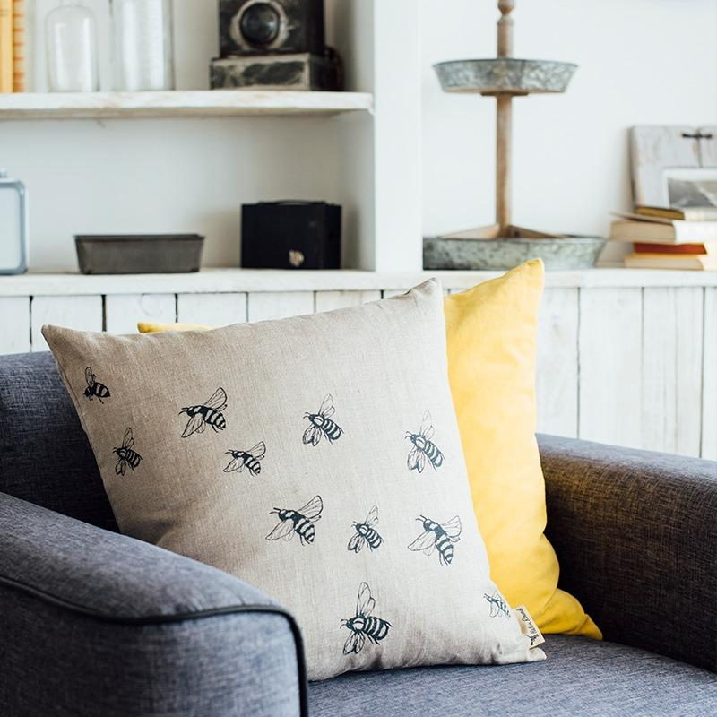 Linen bee cushion natural colour with bee design