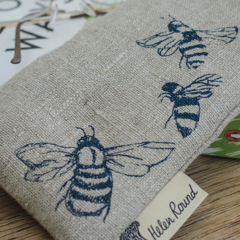 natural linen bee glasses case with bees