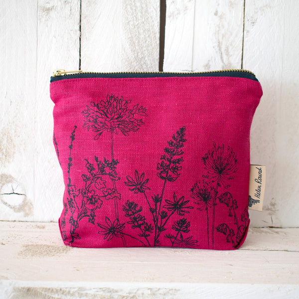 Linen make up bag from the garden collection in the colour raspberry red