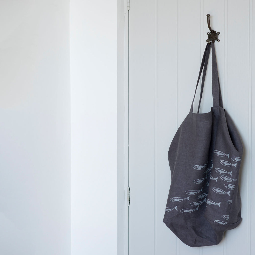 linen slouch bag in grey linen with fish design