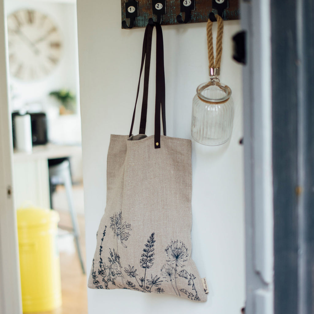 linen shopper leather handles hand printed flower design