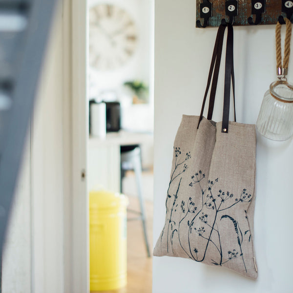 linen tote bag hedgerow design natural linen
