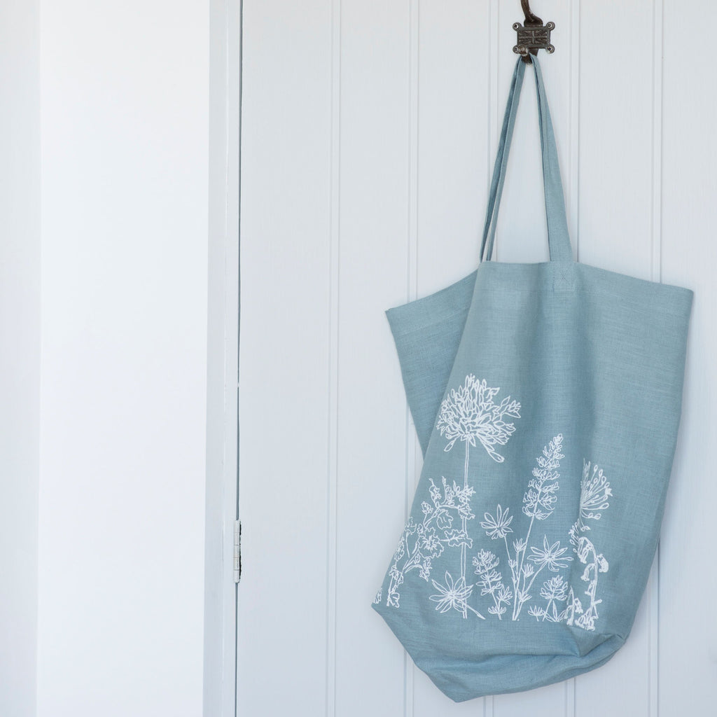 linen tote bag duck egg blue flower design