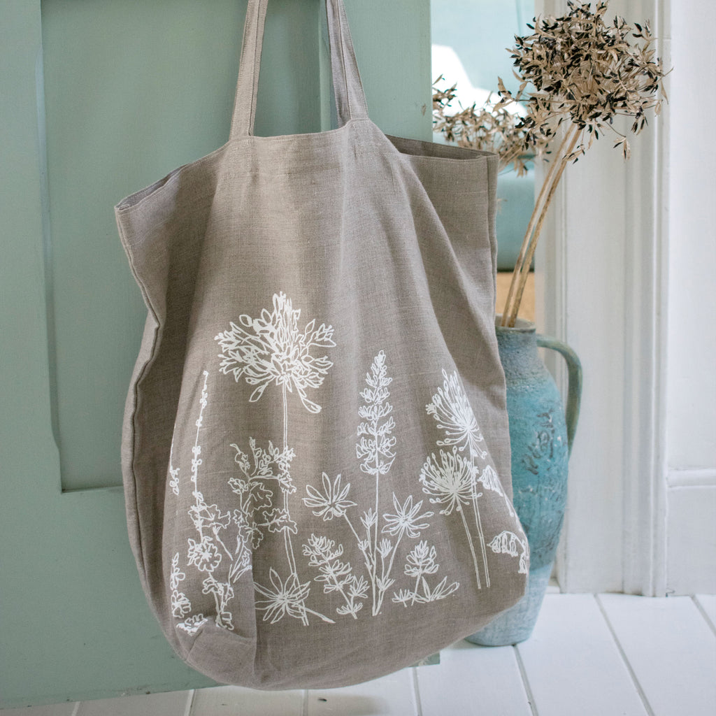 linen tote bag natural linen shopper shopping bag