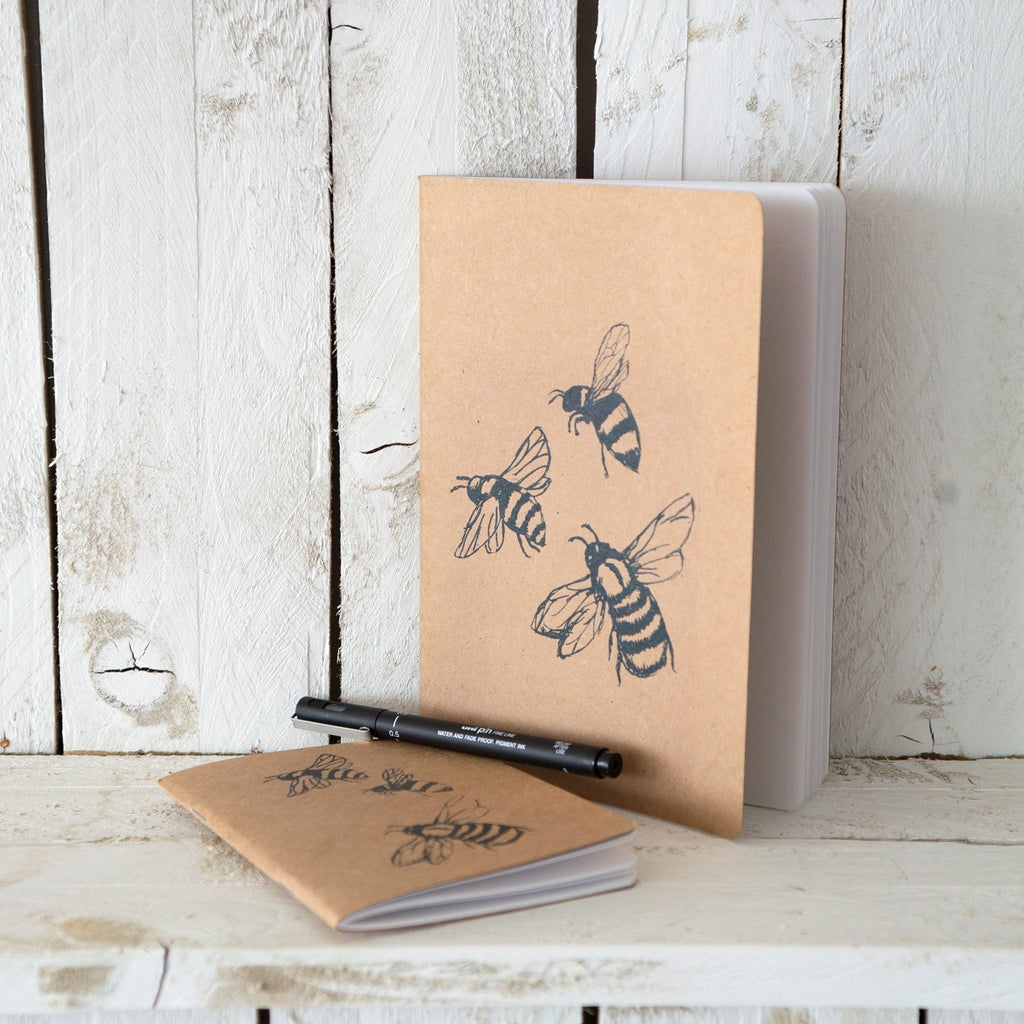 large a5 honey bee notebook with plain lined paper notepad