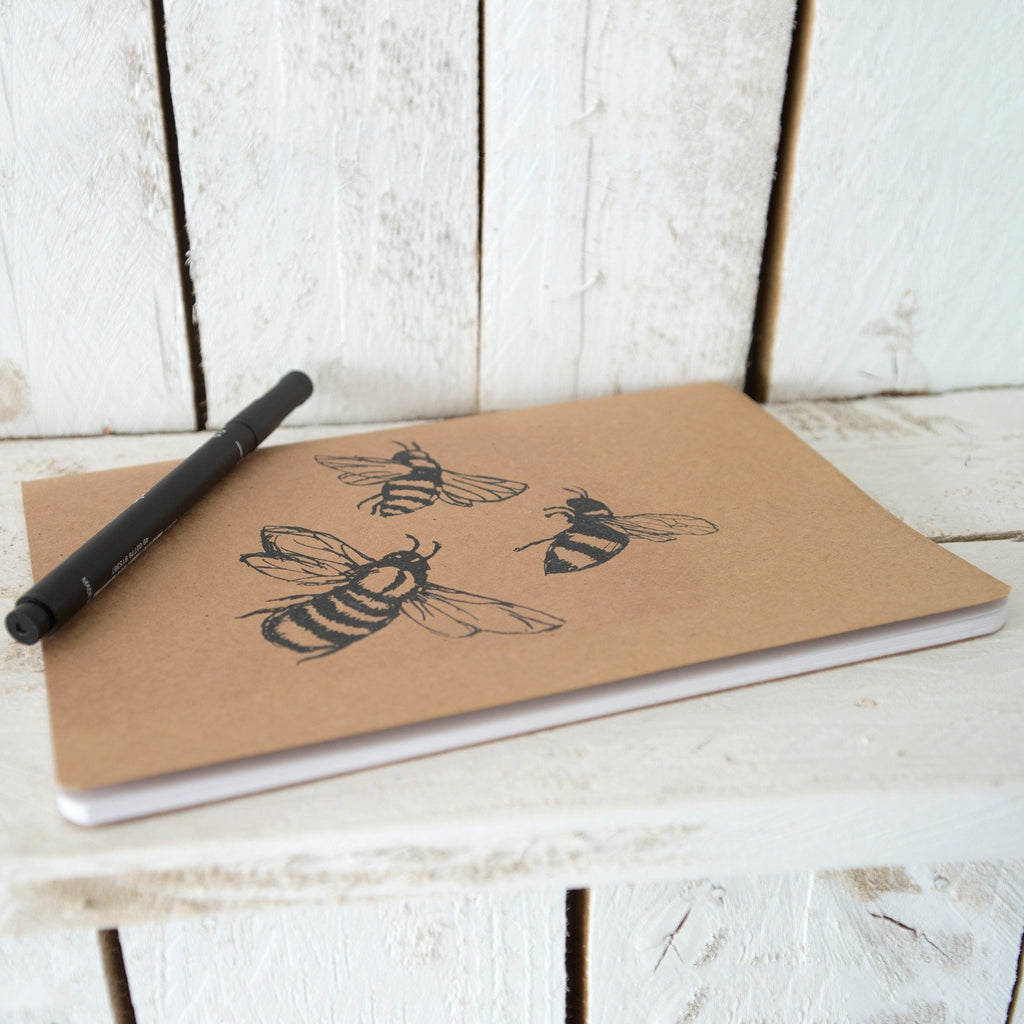 large a5 bee notebook with plain and lined paper notepad