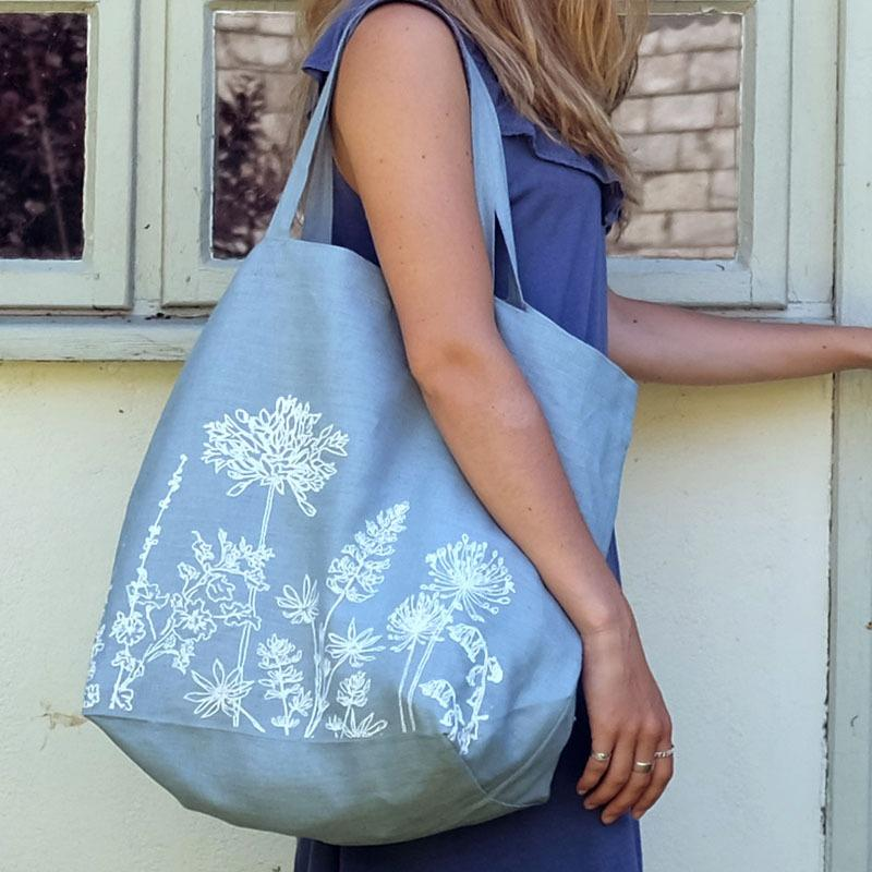garden collection linen tote bag hollyhock blue