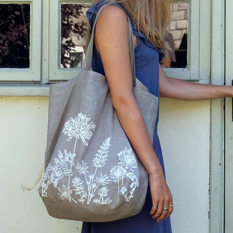 garden collection linen tote bag natural