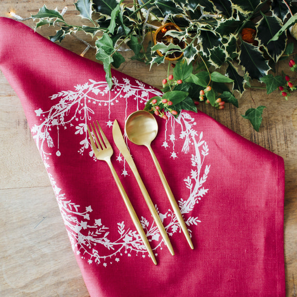 christmas napkins raspberry red pure linen colour holly ivy design