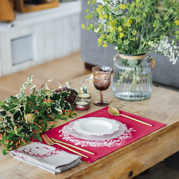 christmas fabric placemats red linen