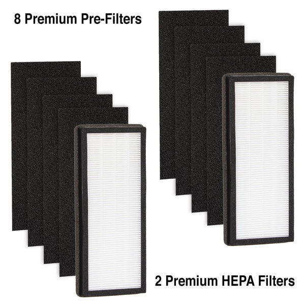 Climestar Filter for VEVA 8000 Elite Pro Series Air Purifier – 2 HEPA Filters and 8 Activated Carbon Pre-Filter Pack