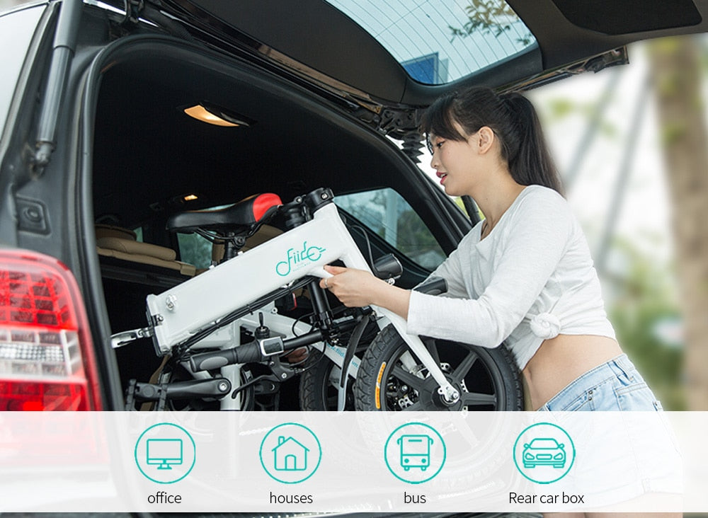 Woman loading car with FIIDO D1 Folding eBike