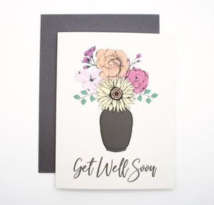 Get Well Soon Card With Flowers in Vase