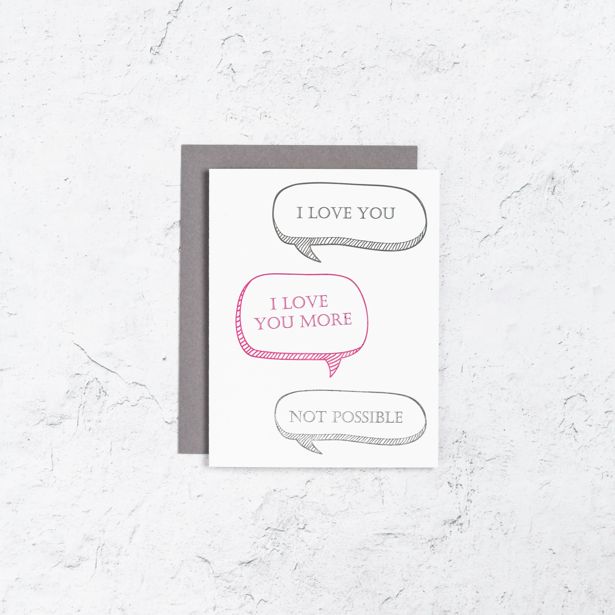 Text I love You Letterpress Card