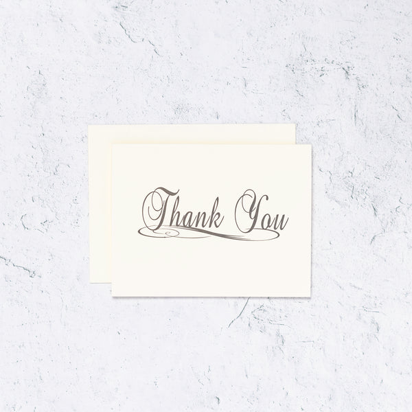 Traditional Thank You Letterpress Card Ivory