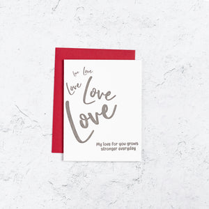 Love Grows Stronger Letterpress Card