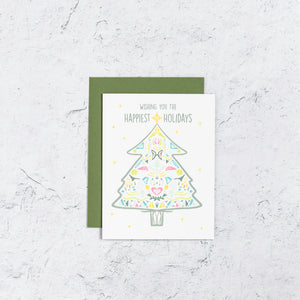 Happy Tree Holiday Card, Bright Colors