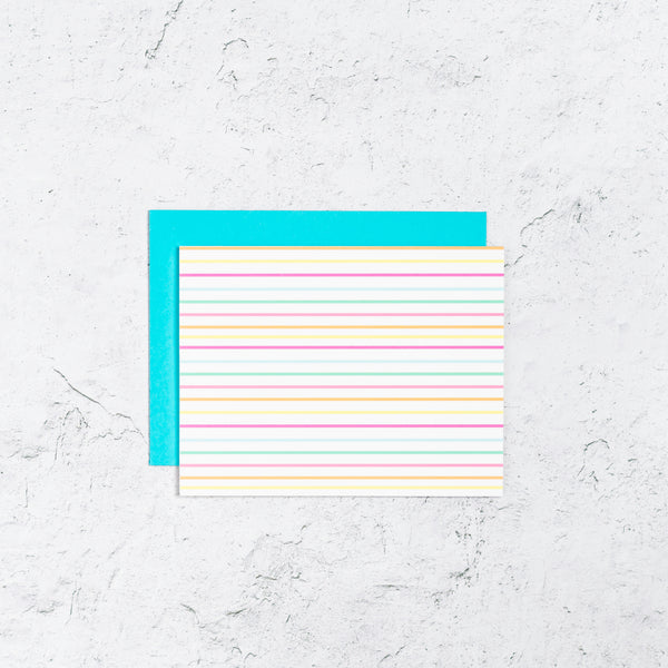 Striped Notecard in bright colors.