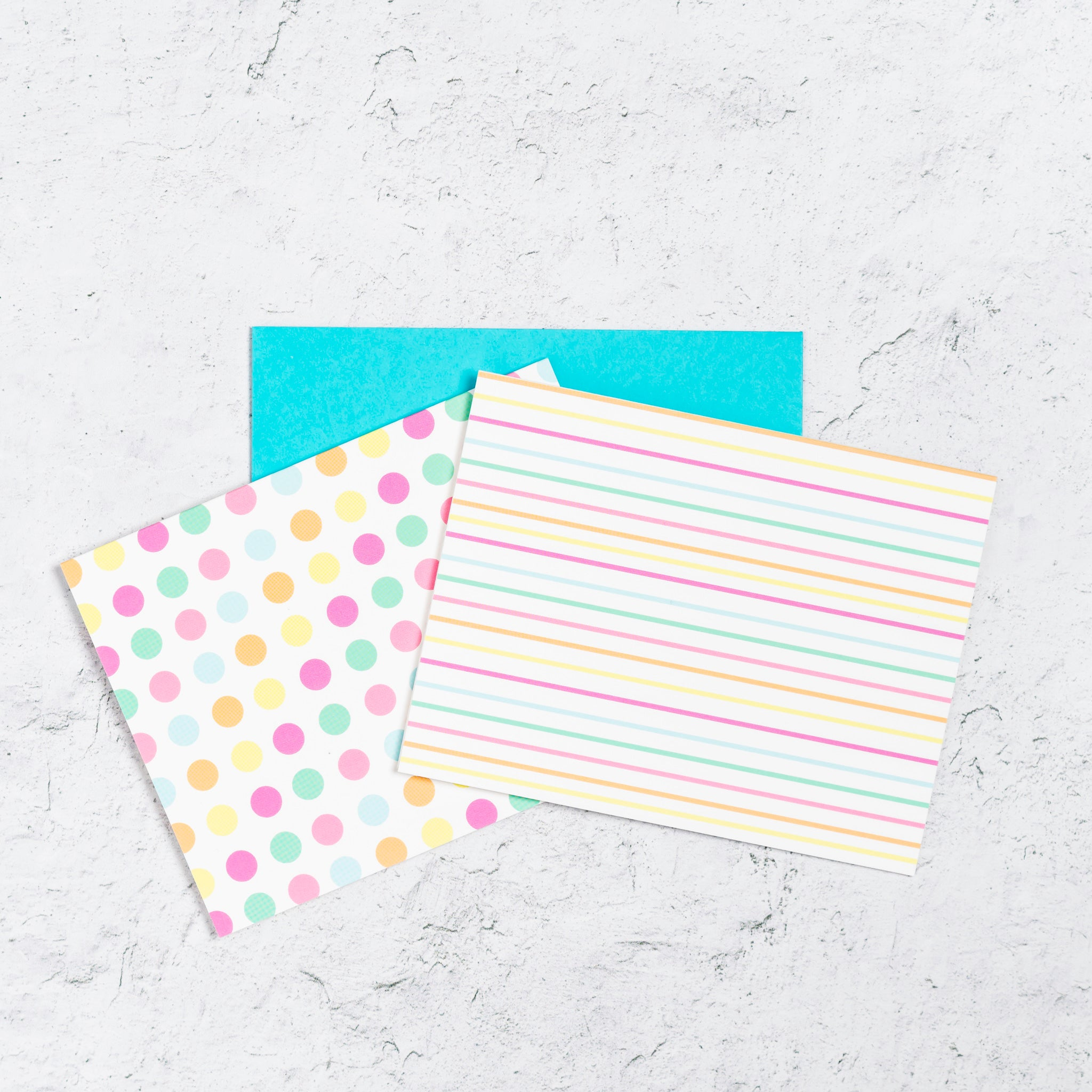 Striped and polka dot notecard set with matching envelope.