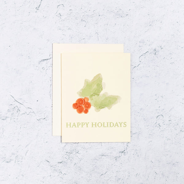 Happy Holly Holidays Greeting Card Front