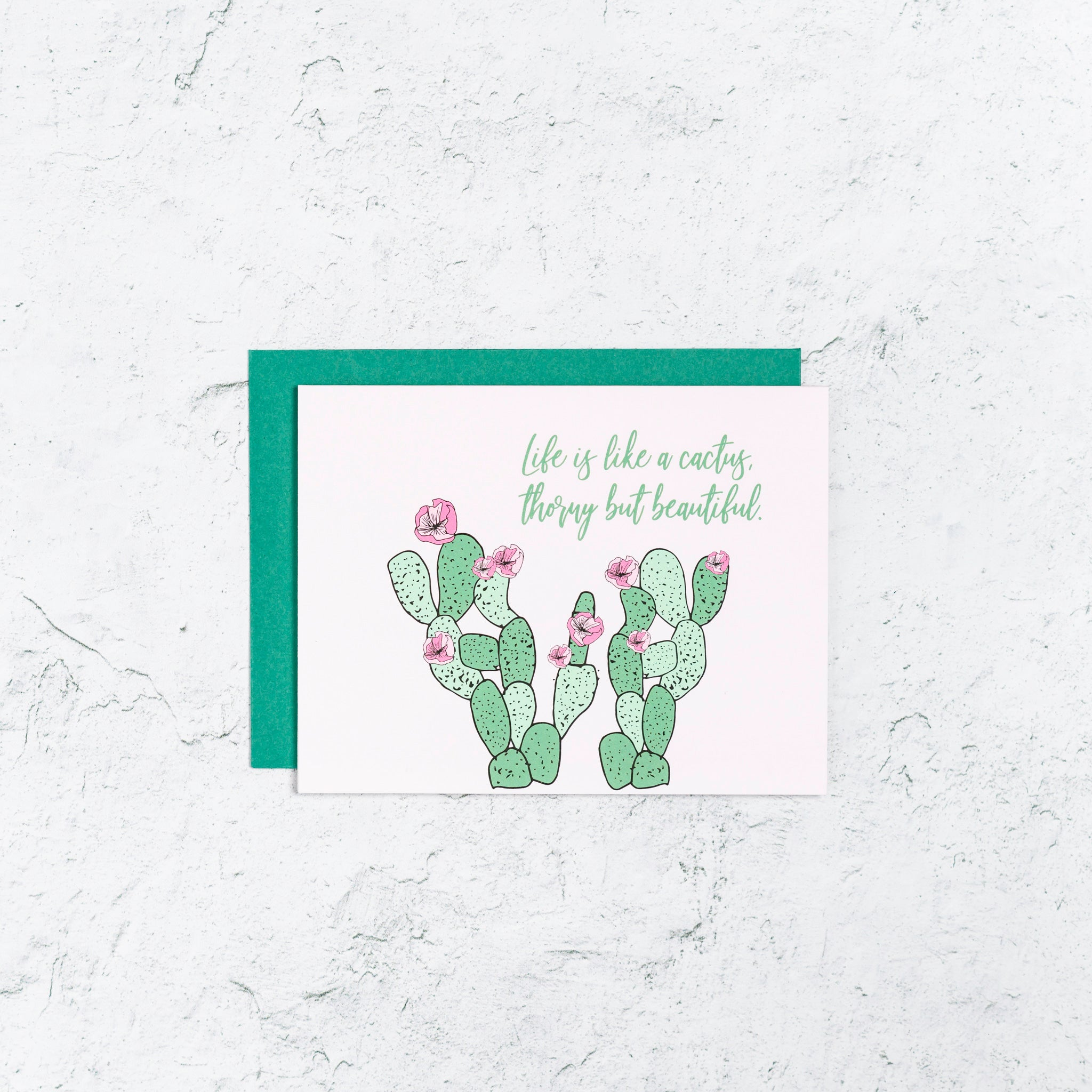 Life is like a cactus thorny but beautiful card