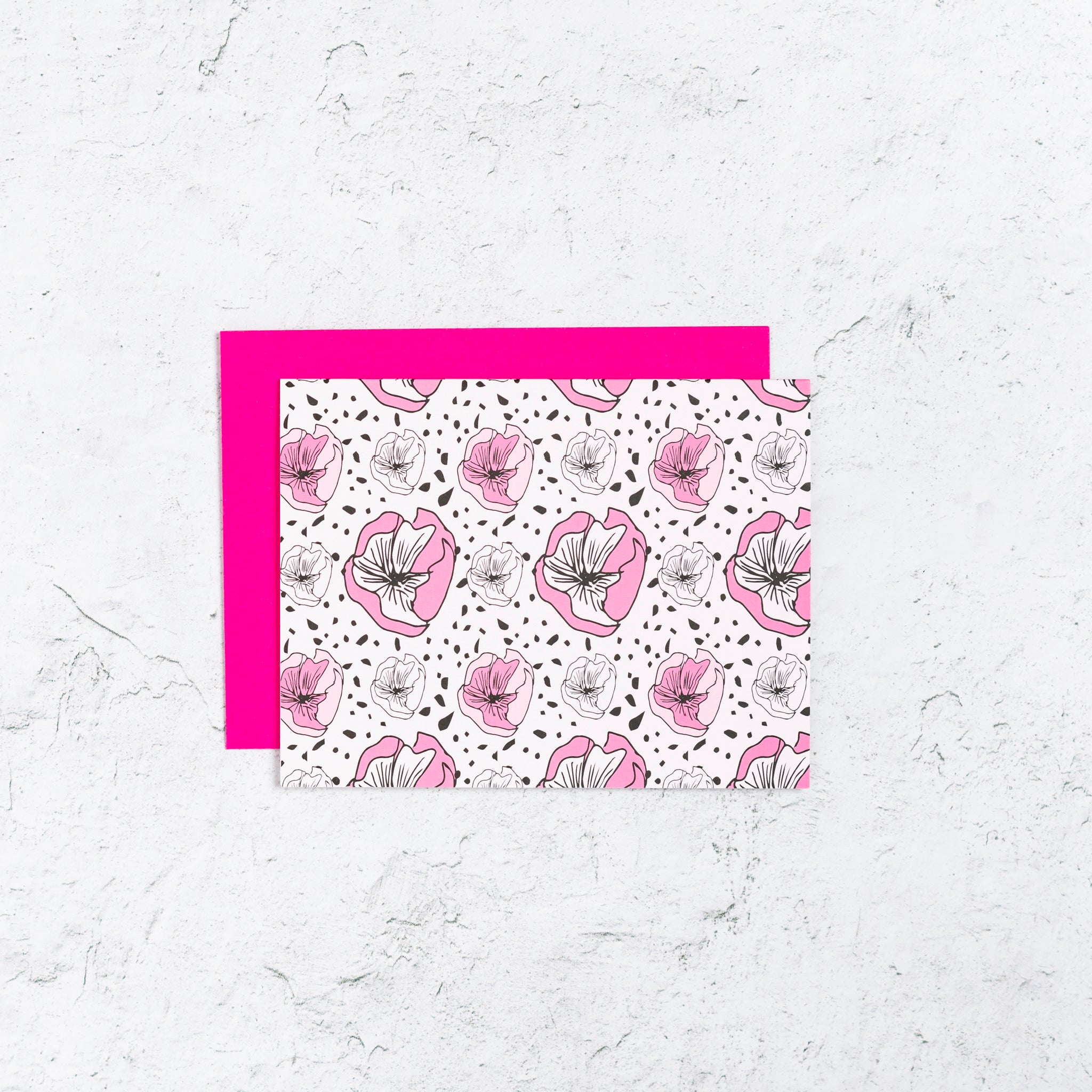 Bold pink and black floral note cards