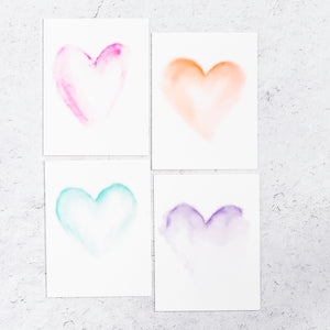 Watercolor Hearts Notecard