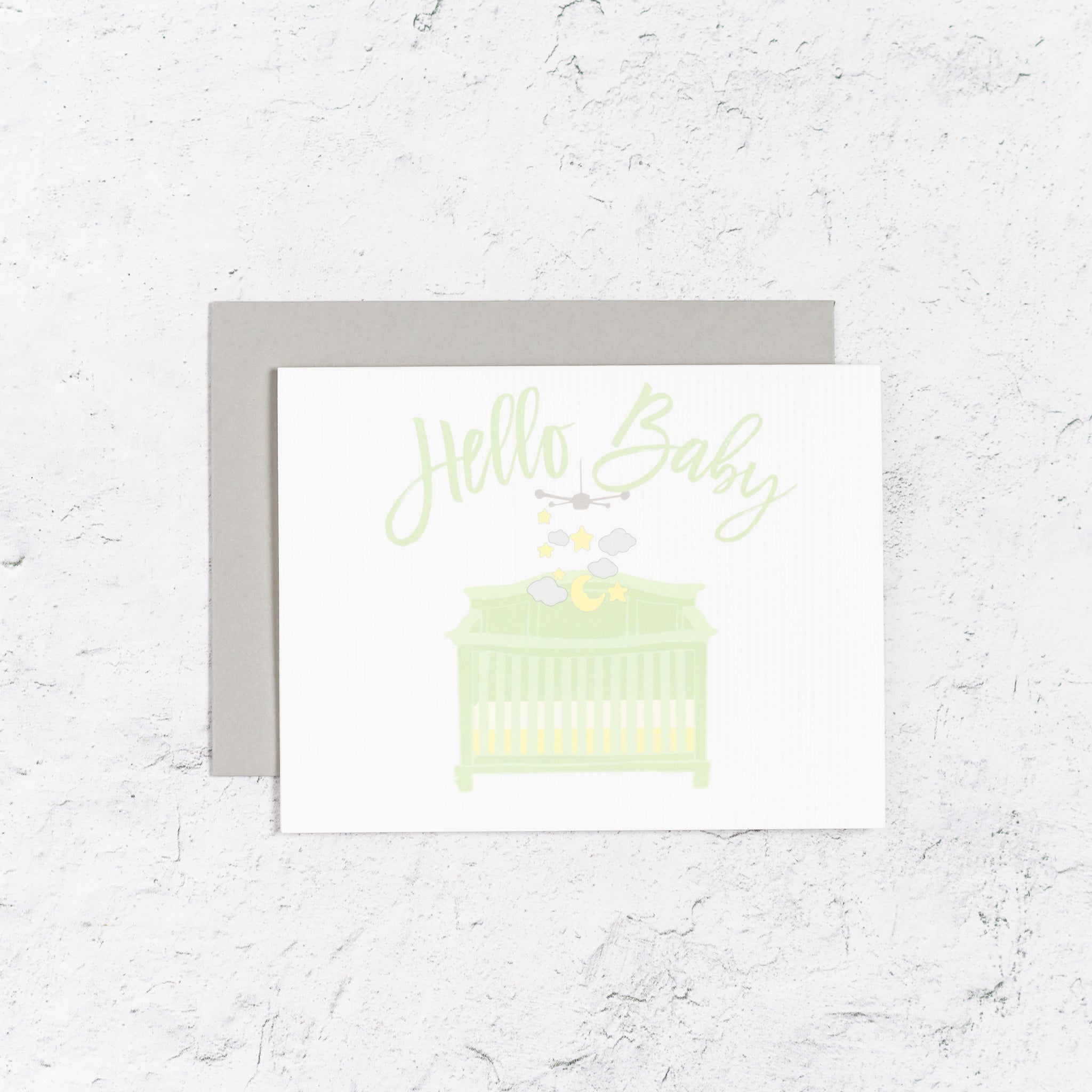 Hello Baby Card With Crib and Mobile