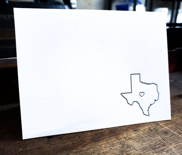 State Icon Letterpress Card Texas