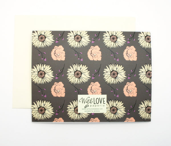 Fall floral notecard set with sunflowers and sprigs, brown, yellow and peach.