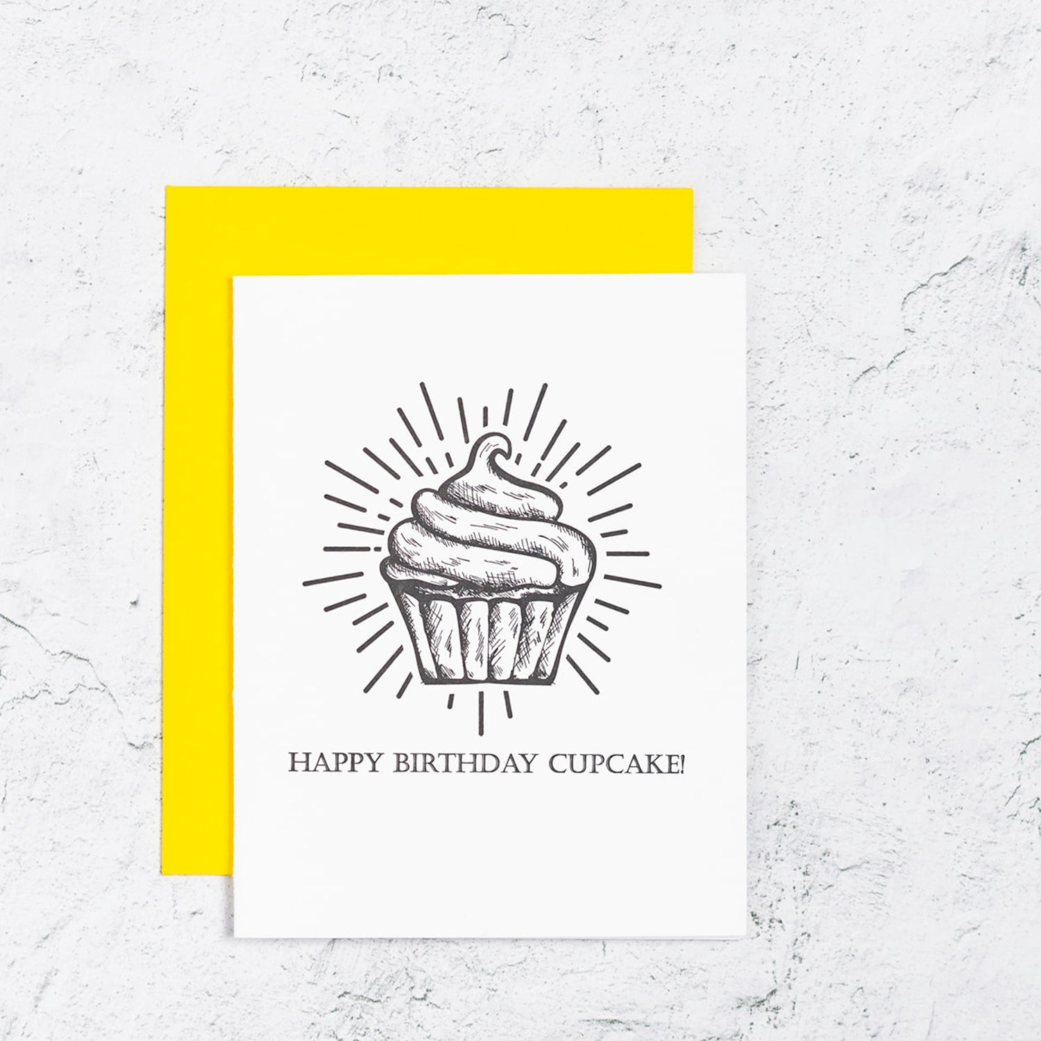 Happy Birthday Letterpress Card With Cupcake  Edit alt text