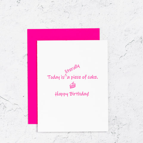 Piece of Cake Letterpress Birthday Card