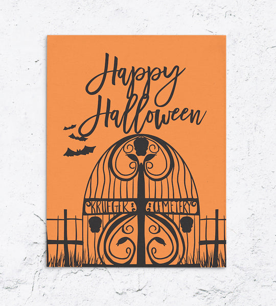 Krueger Cemetery Gate Halloween Card  Edit alt text