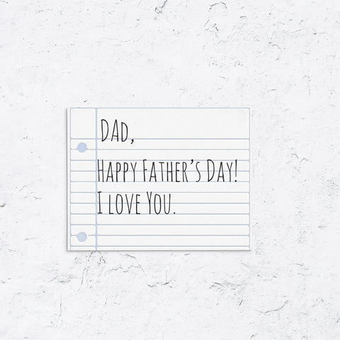 Notebook Paper Fathers Day Card- With Love A Paperie