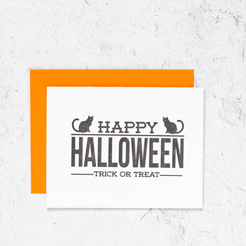 Happy Halloween Letterpress Card With Cats