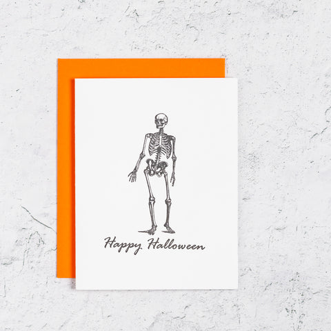 Skeleton Halloween Letterpress Card
