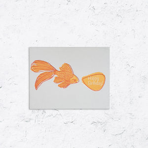 Happy Birthday with Goldfish Letterpress Card