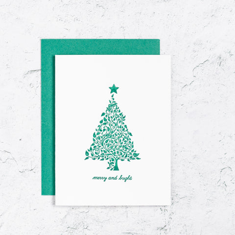 Merry and Bright Tree Letterpress Card