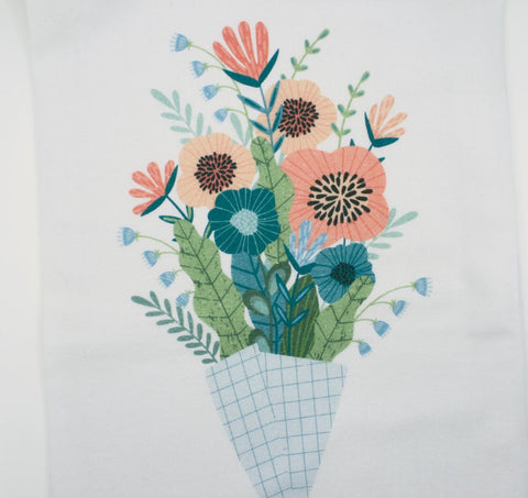 Flower bouquet tea towel