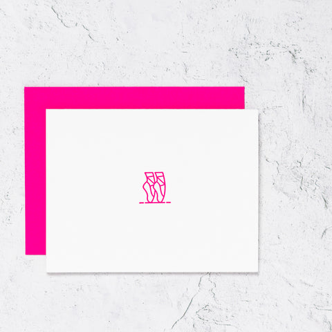 Pink ballet shoes letterpress notecards