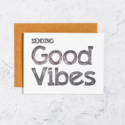 Sending Good Vibes Letterpress Card