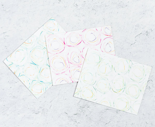 Swirl Notecards Set of 12 with 3 designs